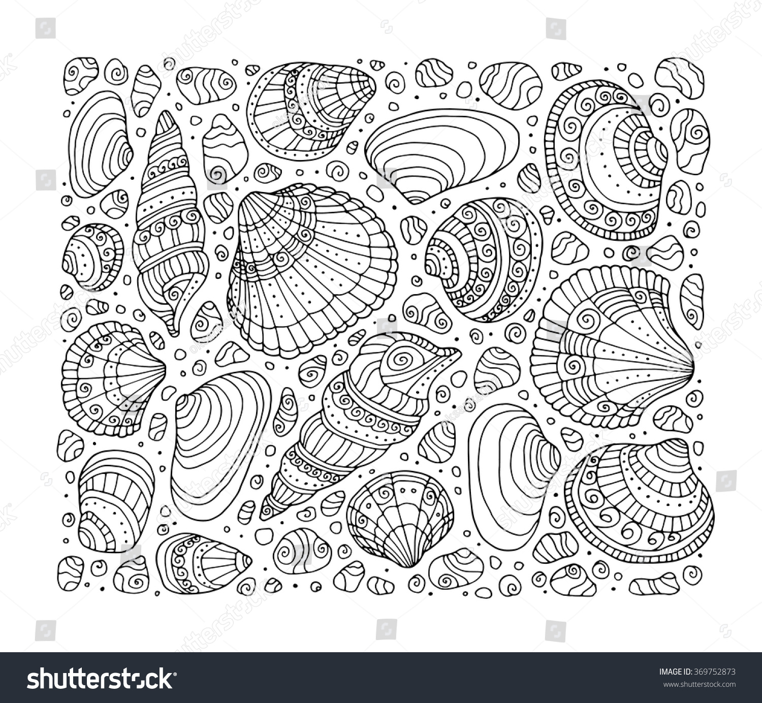Coloring Pages Background Coloring Pages seashell pattern art background vector illustration stock zentangle coloring book page for adult