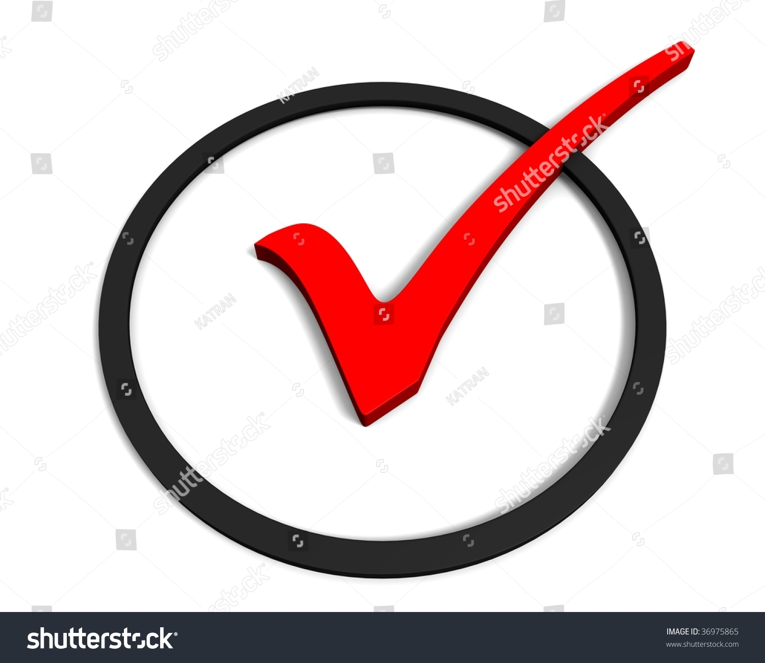 Red Symbol Check Mark On White Stock Illustration 36975865