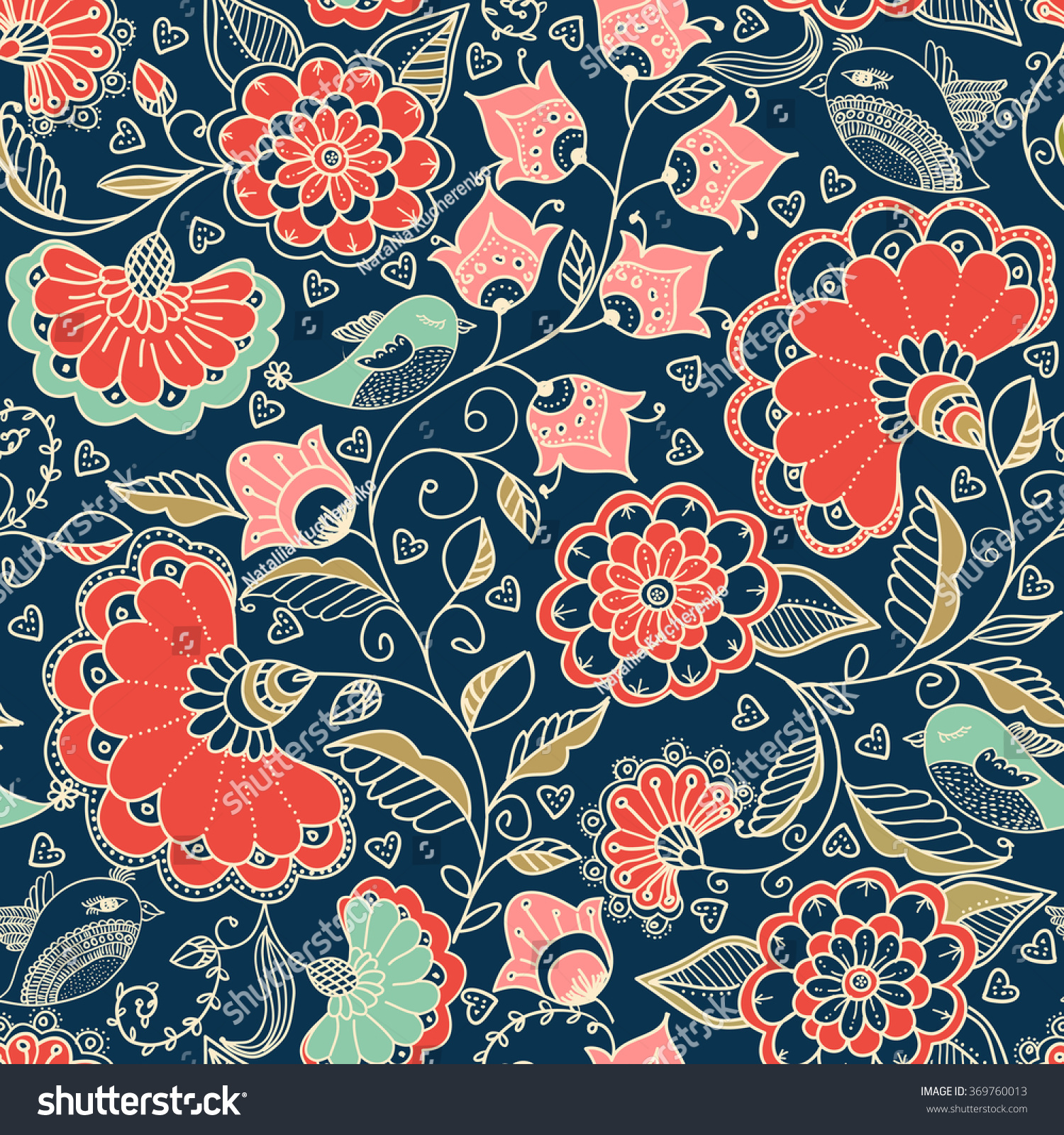 Seamless Colorful Floral Pattern Doodle Style Stock Vector