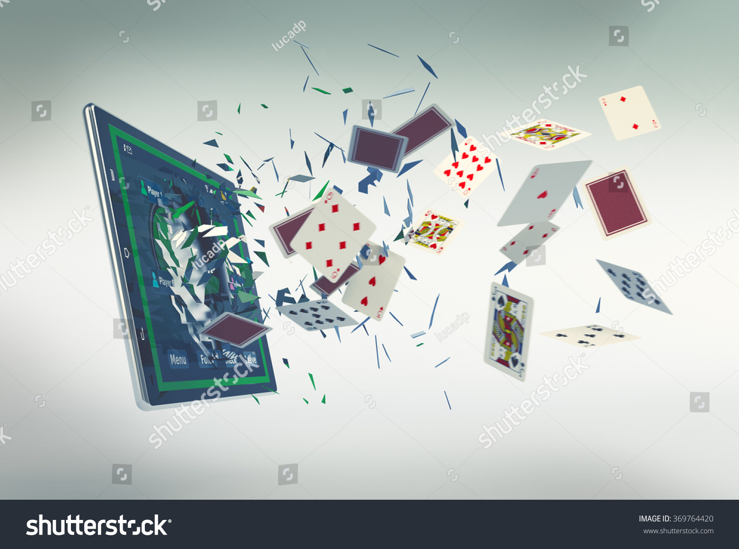 Tablet pc with a poker app and poker chips coming out by breaking.