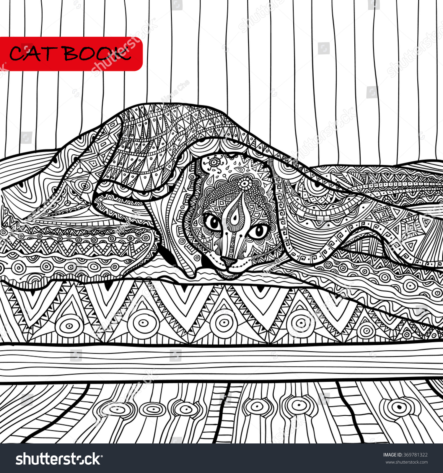 Zen cat coloring page - Coloring Book For Adults Zentangle Cat Book The Cat On The Bed Coloring