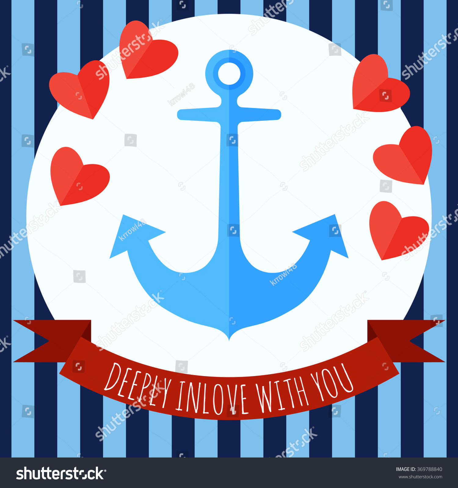 Happy Valentines Day Post Card Anchor Vector 369788840 – Valentines Day Post Cards