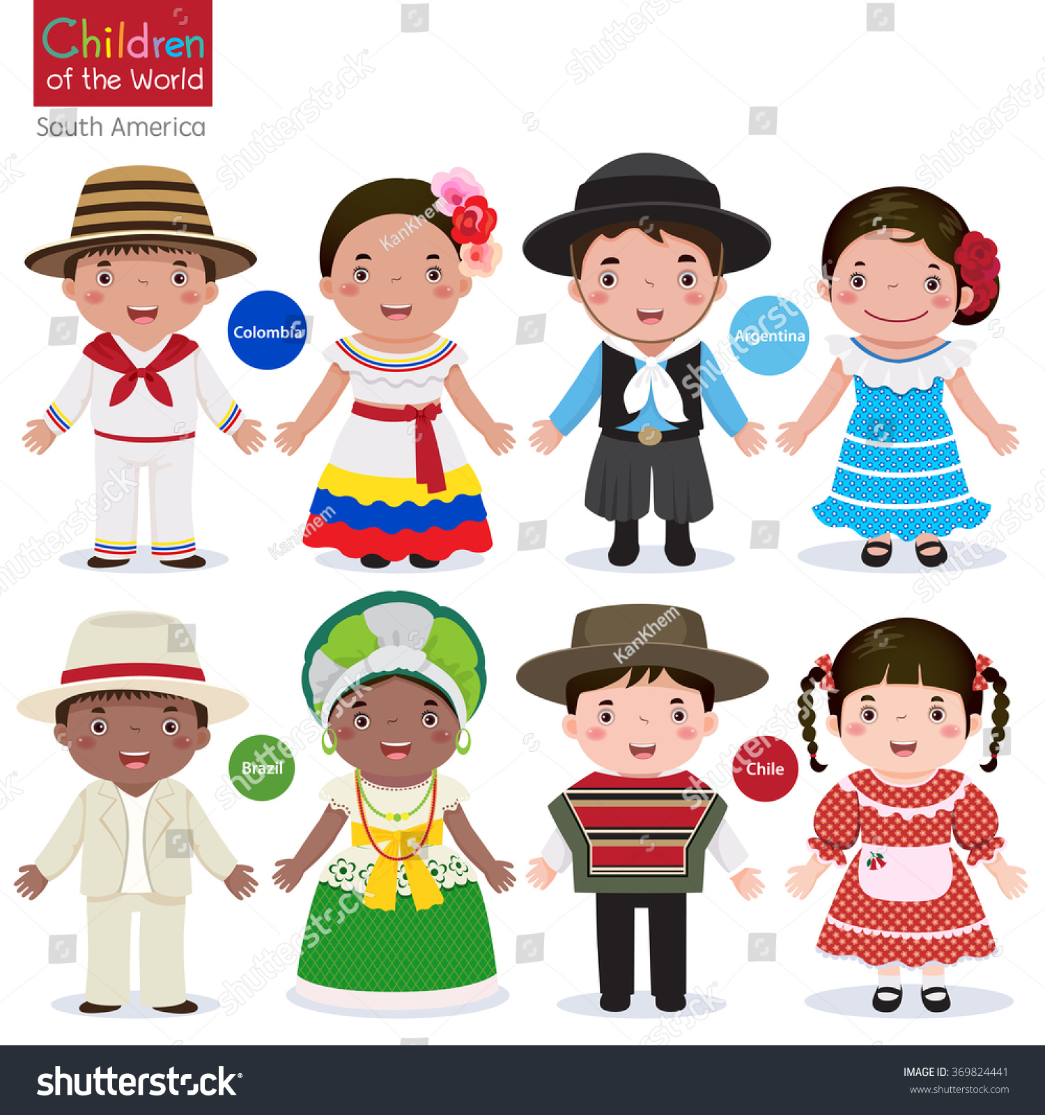 In different traditional costumes colombia argentina brazil chile