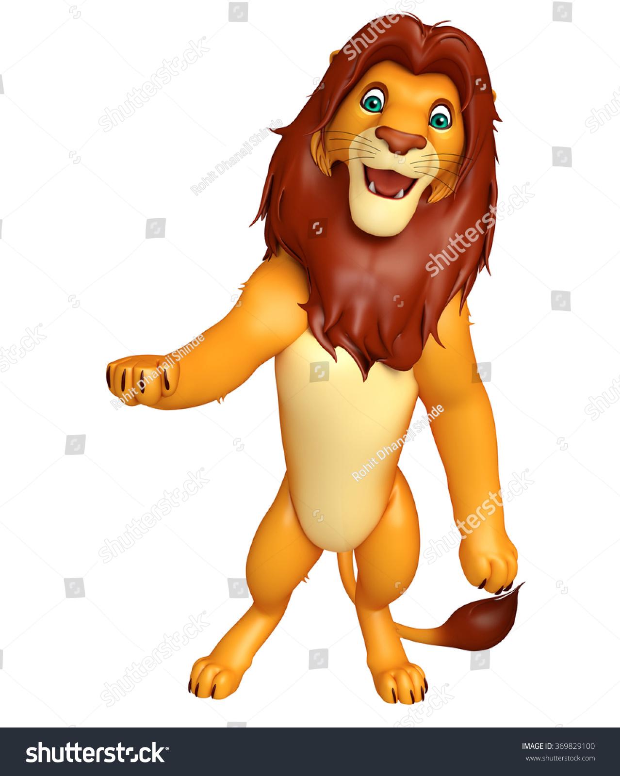 3d rendered illustration hold lion cartoon stock illustration