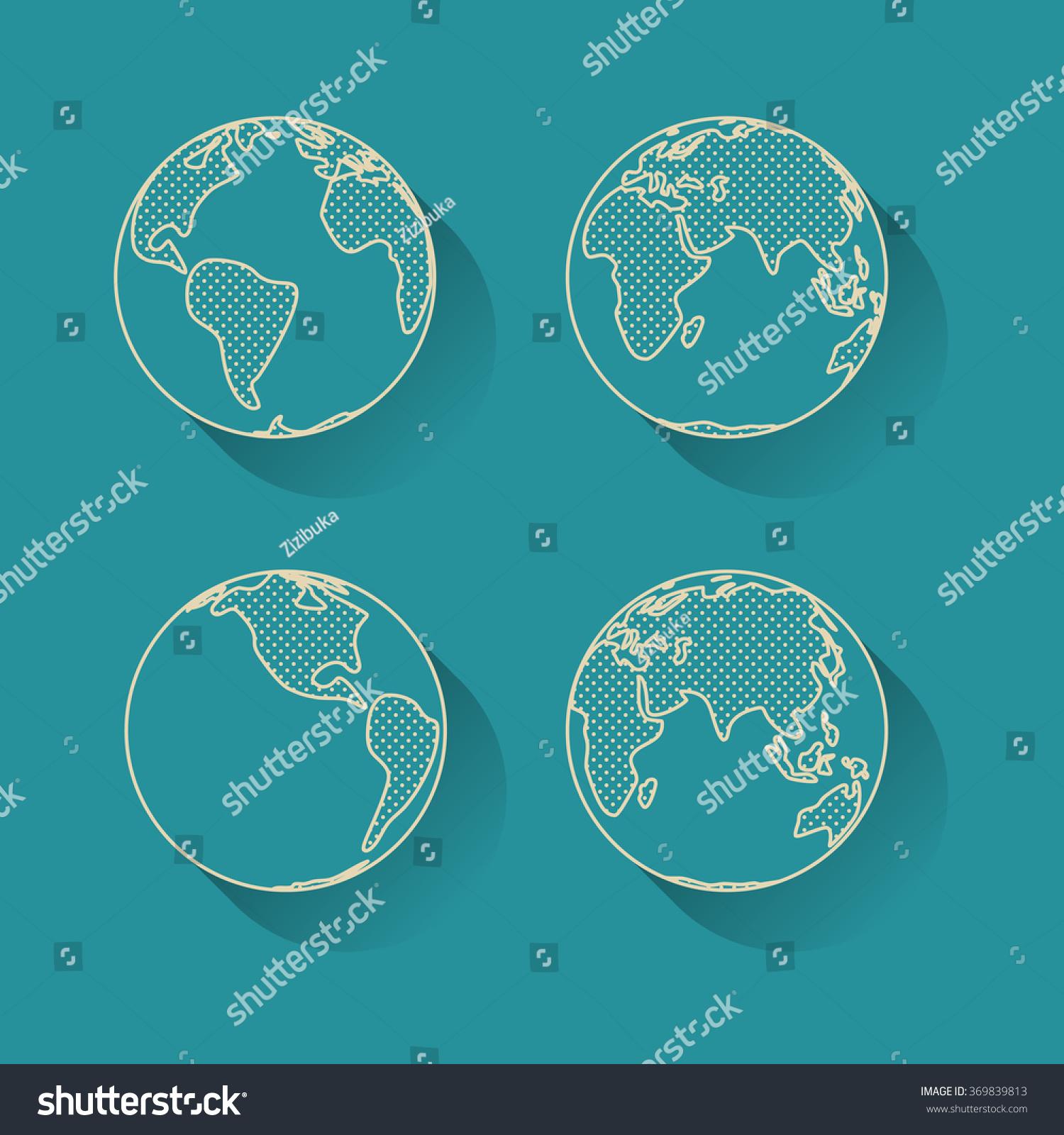 Line Art Earth : Icon set earth globe simple line stock vector