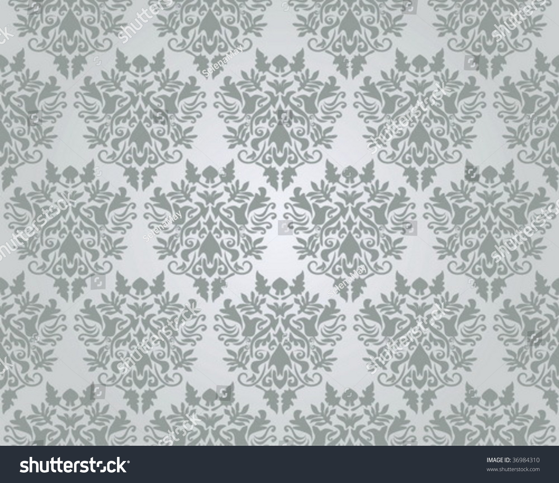 Seamless Silver Damask Wallpaper Vector Illustration Stock Vector