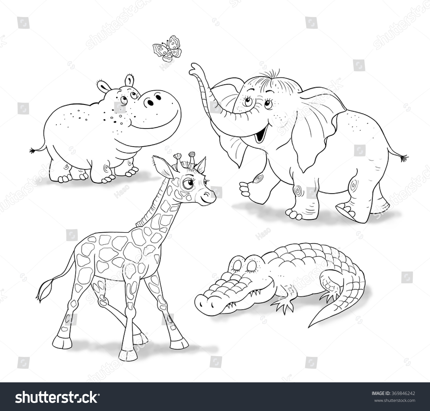 Small Set Baby African Animals Cute Stock Illustration 369846242 ...