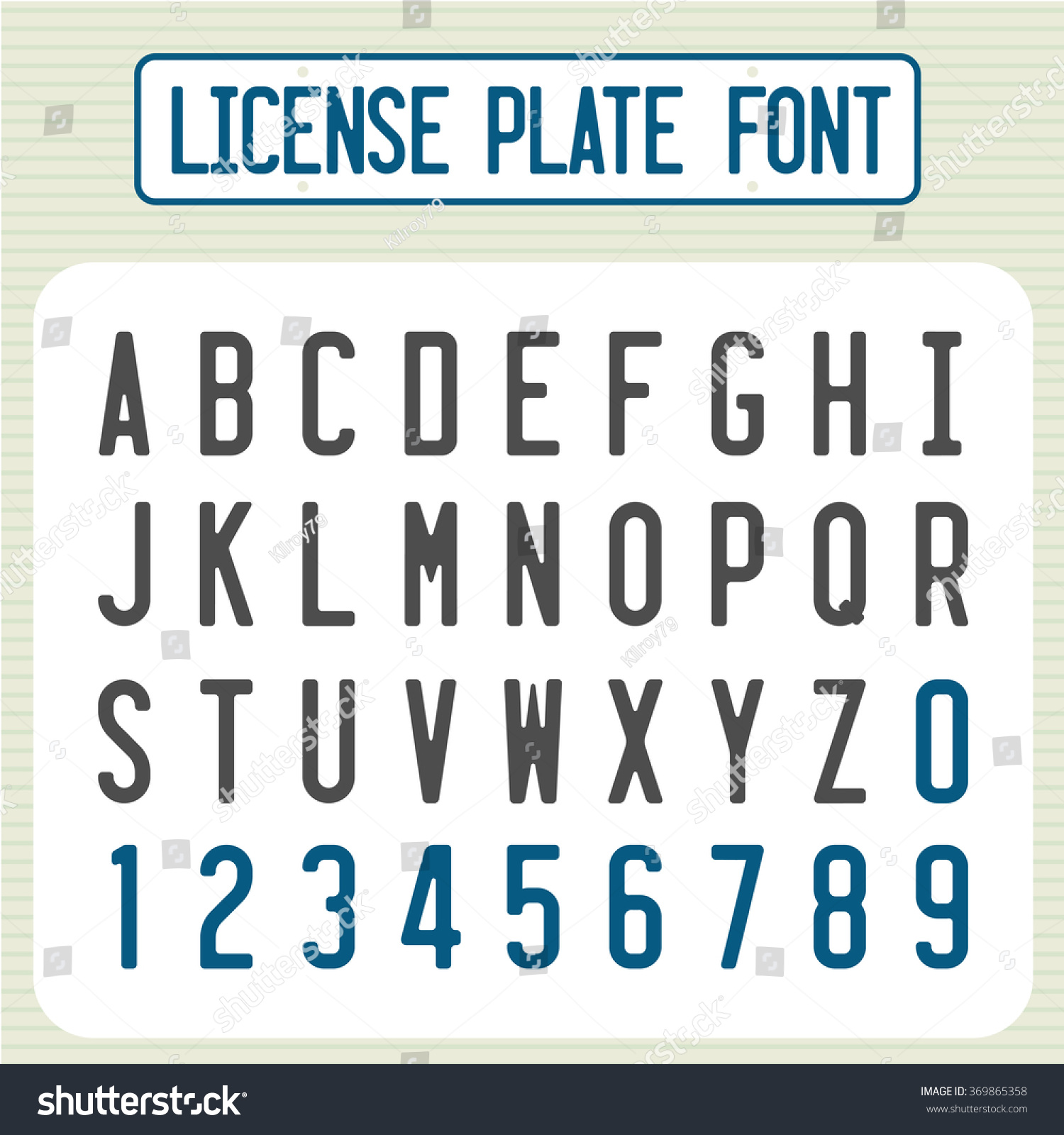 License Plate Font Car Identification Number Stock Vector