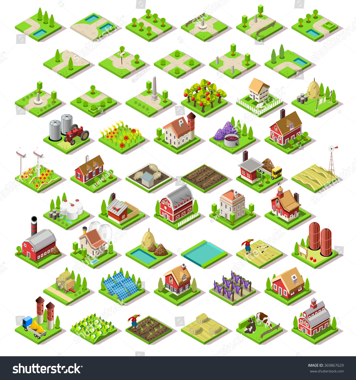 Vector Isometric Game Flat Infographic Building Stock