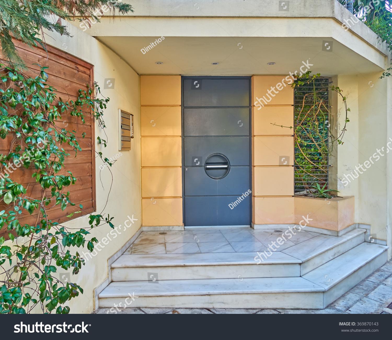 Modern house entrance athens greece