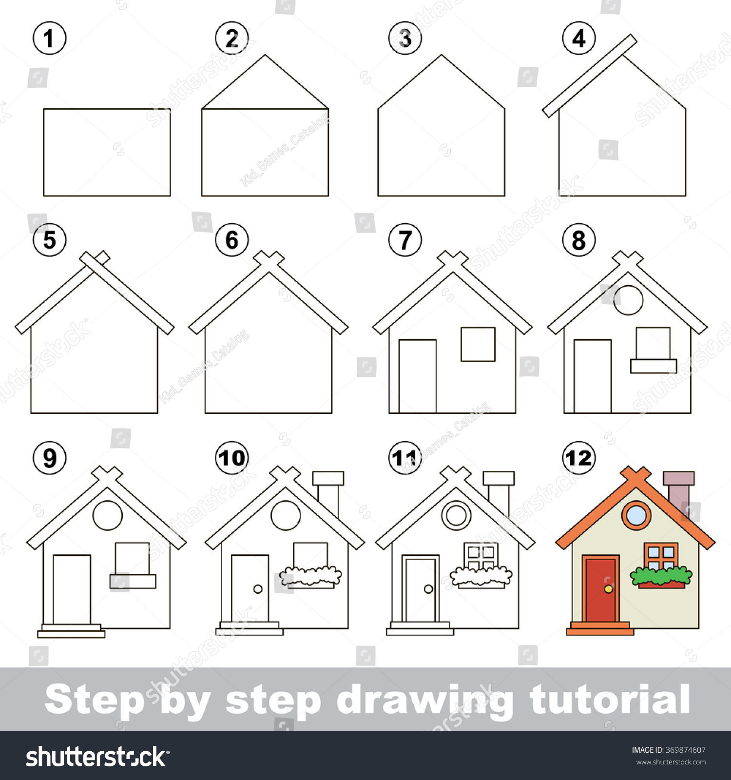How Draw Toy House Stock Vector 369874607 - Shutterstock