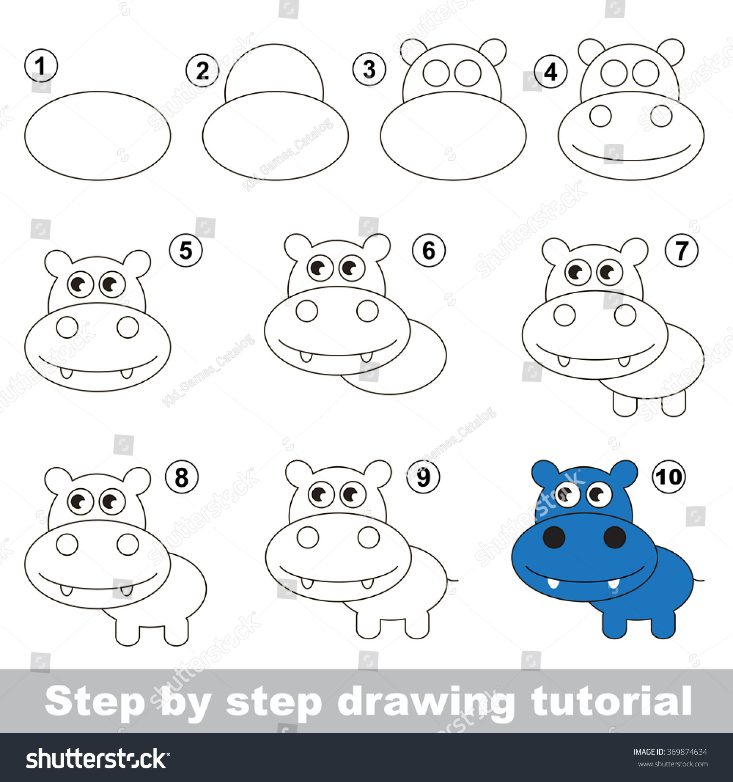 How Draw Cute Hippo Stock Vector 369874634 - Shutterstock
