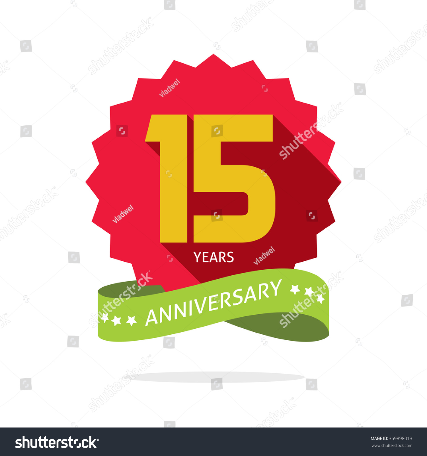 15 Years Anniversary Vector Label Logo, Shadow On Circle ...