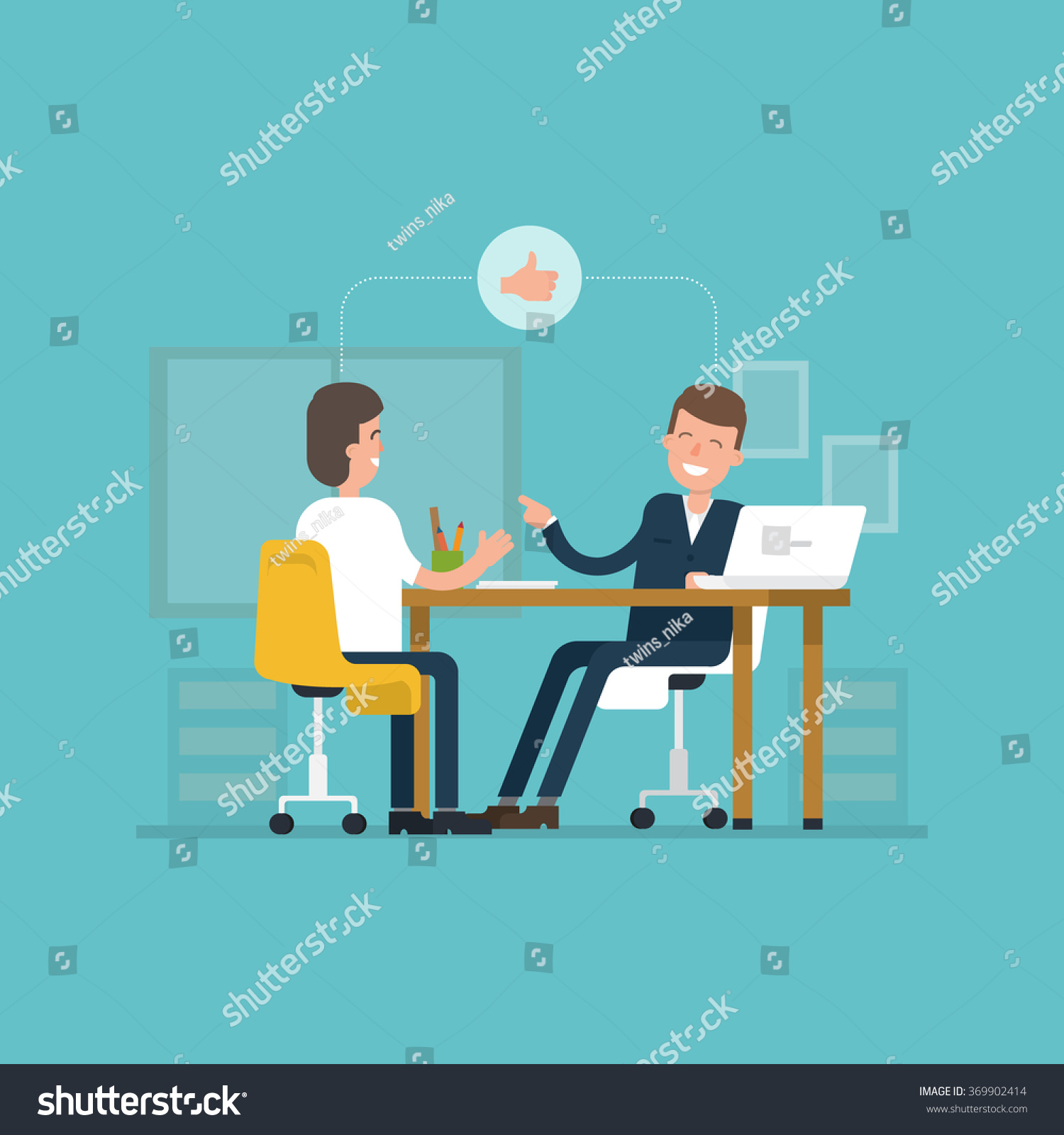 vector concept interviews by the candidate in flat style save to a lightbox