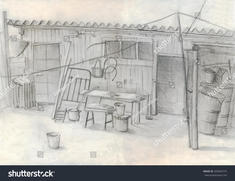 Rustic Barn Pencil Drawing Sketch