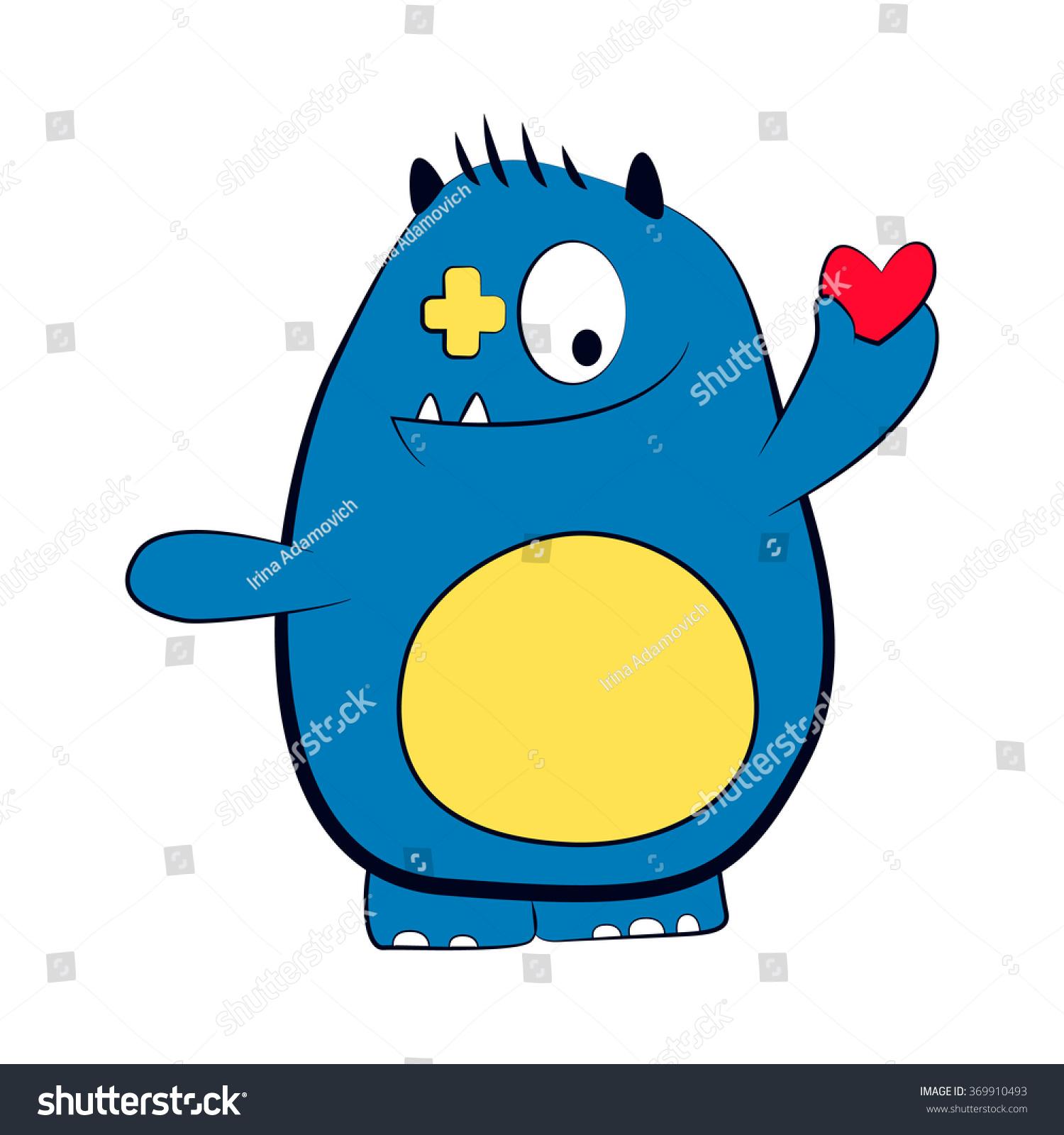 monster heart isolated on white cute stock vector 369910493