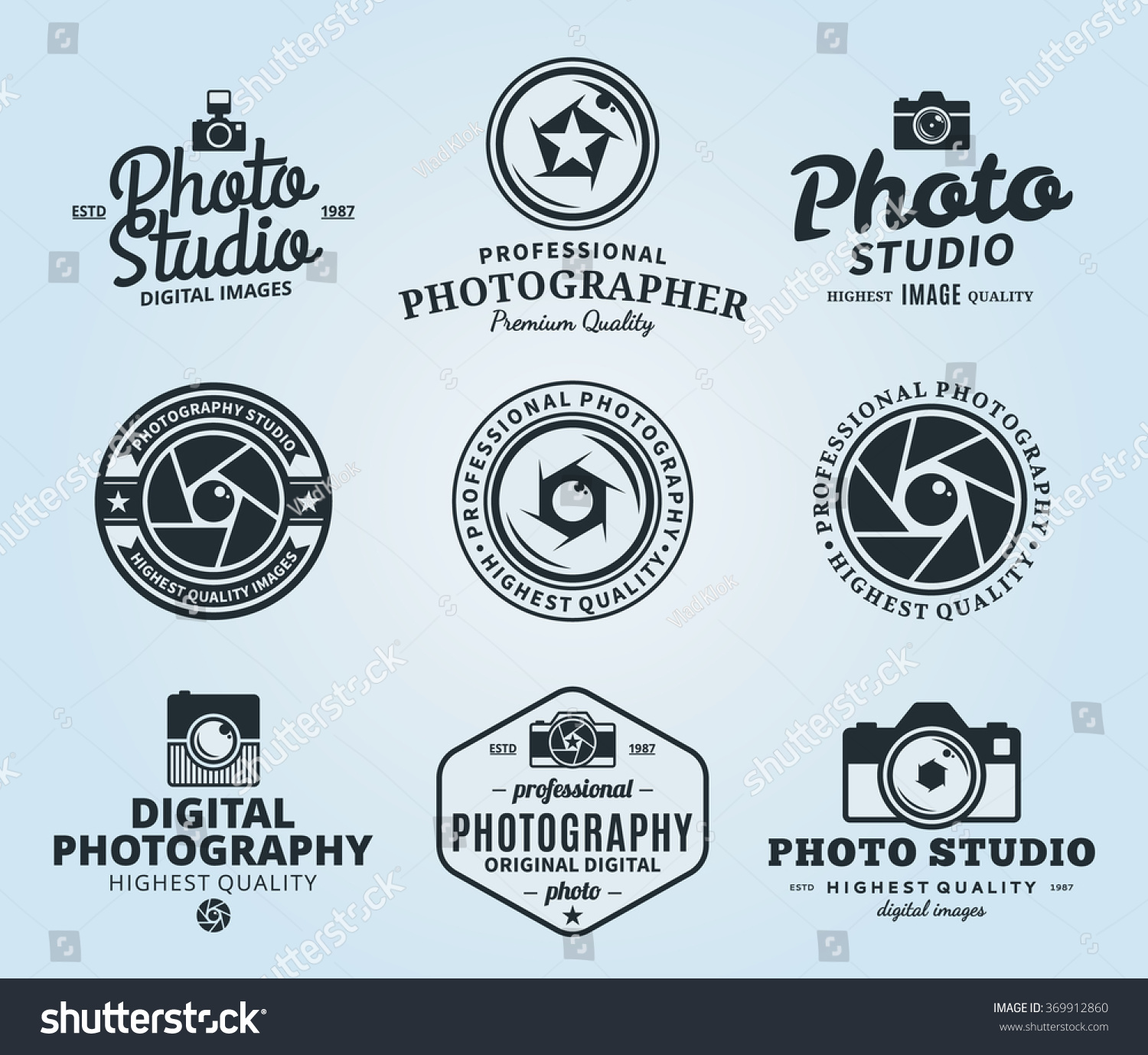 Vector Photography Logo Templates Photo Studio Stock Vector ...