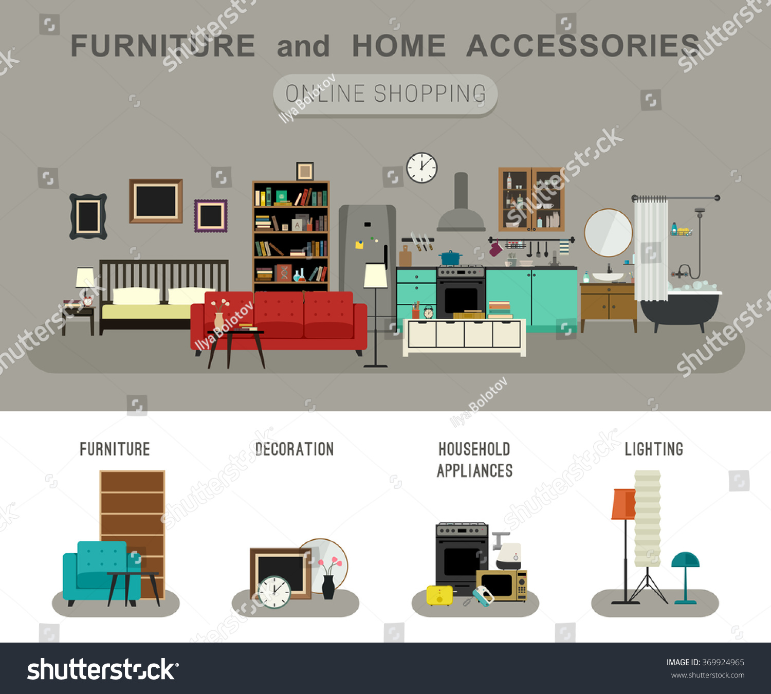 Furniture And Home Accessories Banner With Flat Icons Sofa, Bookshelf, Bed,  Bathroom,
