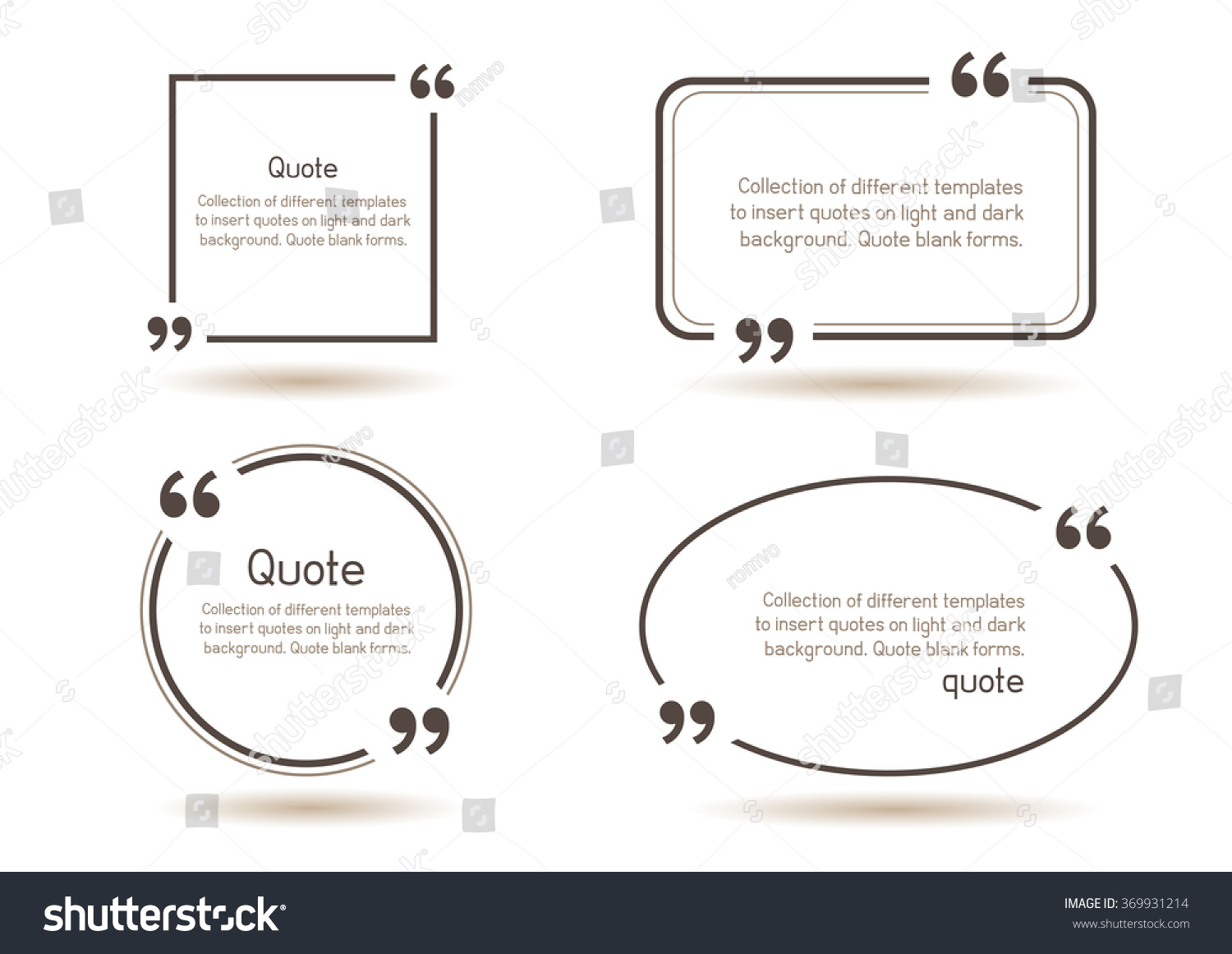templates writing quote round square oval stock vector  templates for writing quote round square oval rectangular quotes forms on white background