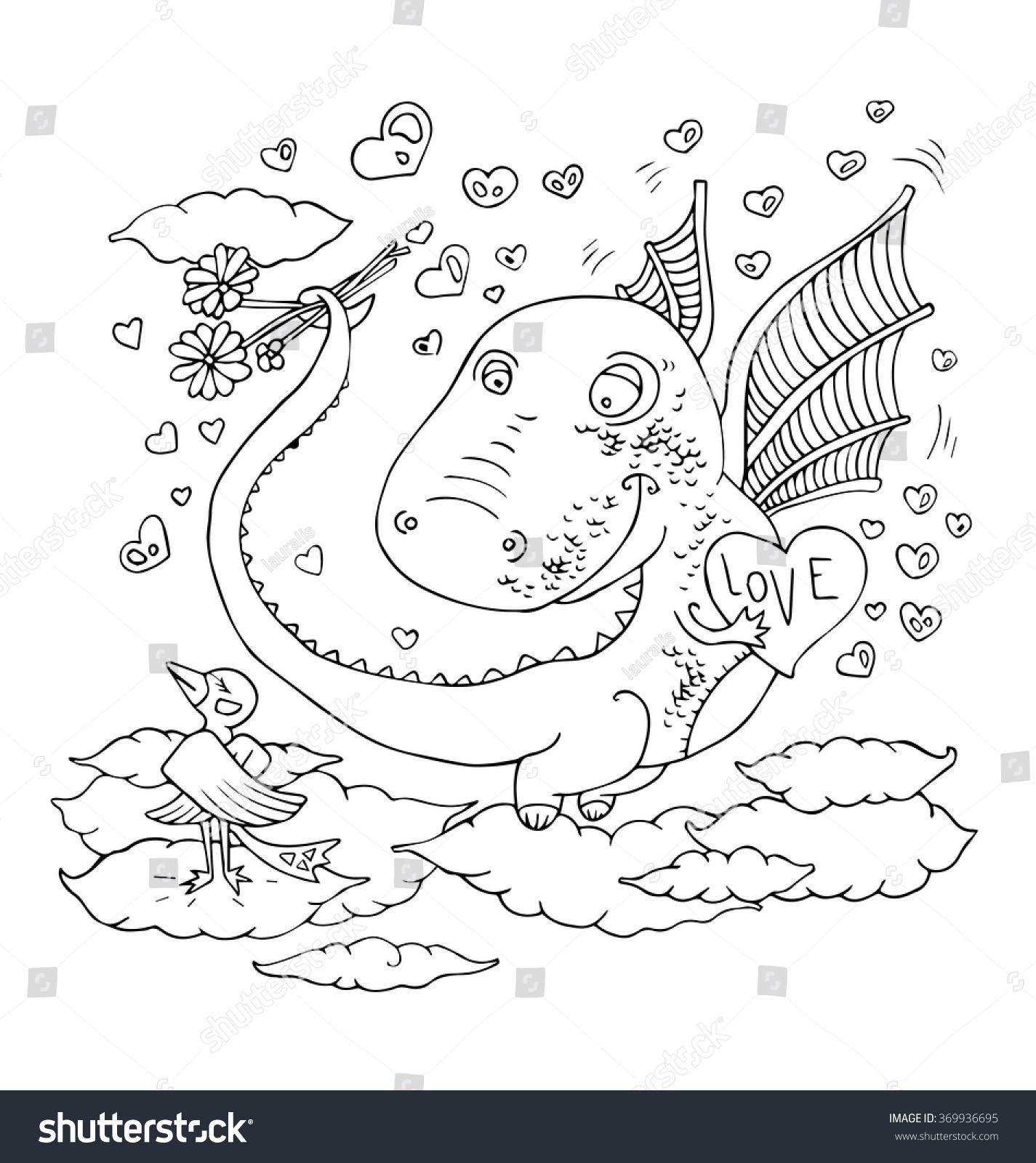 Valentines heart dragon symbols chinese horoscope stock vector the valentines heart for dragon symbols of chinese horoscope of the year cartoon hand drawn outline buycottarizona Gallery