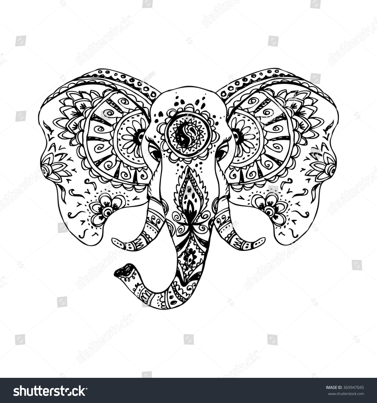 Vector Abstract Elephant In Indian Style MehndiVector Hand Drawing Isolated On White Background