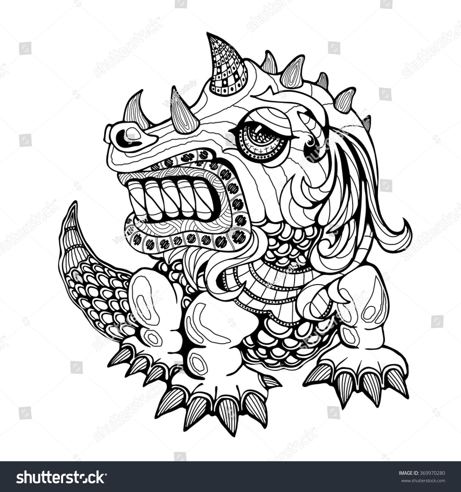 Hand draw ornamental dragon outline illustration stock vector hand draw ornamental dragon outline illustration with decorative ornamentszentangle stylized dragon ornament ccuart Images