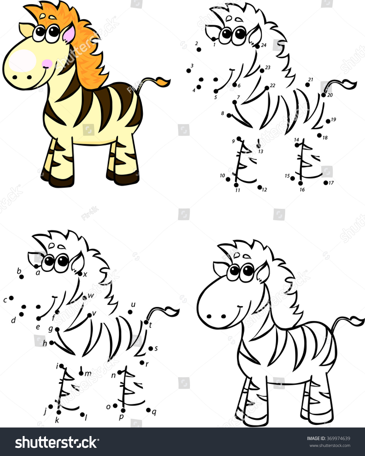 cartoon zebra illustration coloring and dot to dot educational game for kids