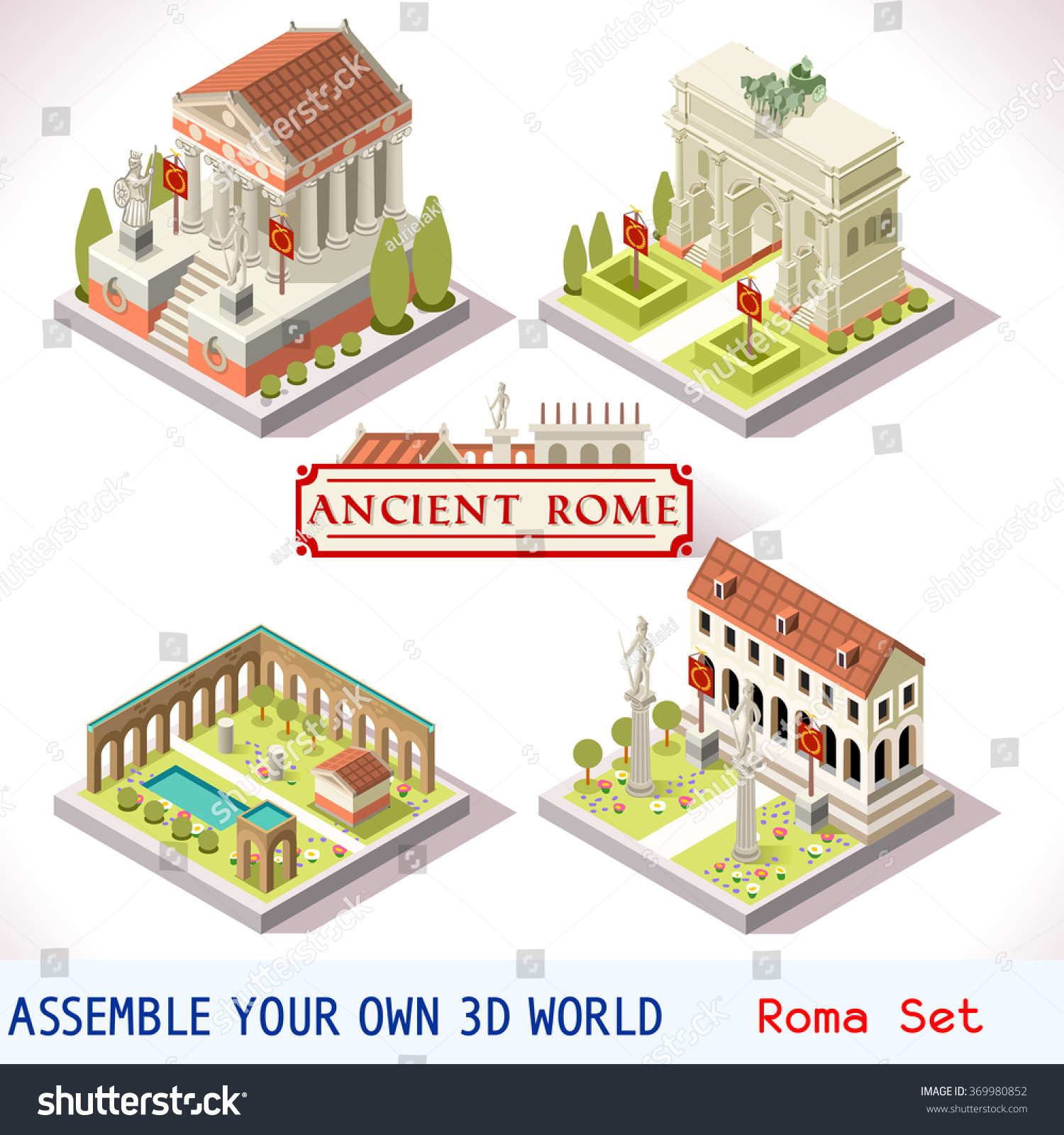 Isometric building ancient rome landmark tile stock vector for Build your own 3d house