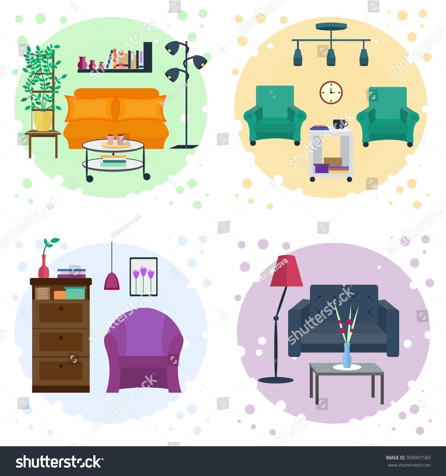 Four Interiors Living Room 4 Rooms Stock Vector 369991583 - Shutterstock