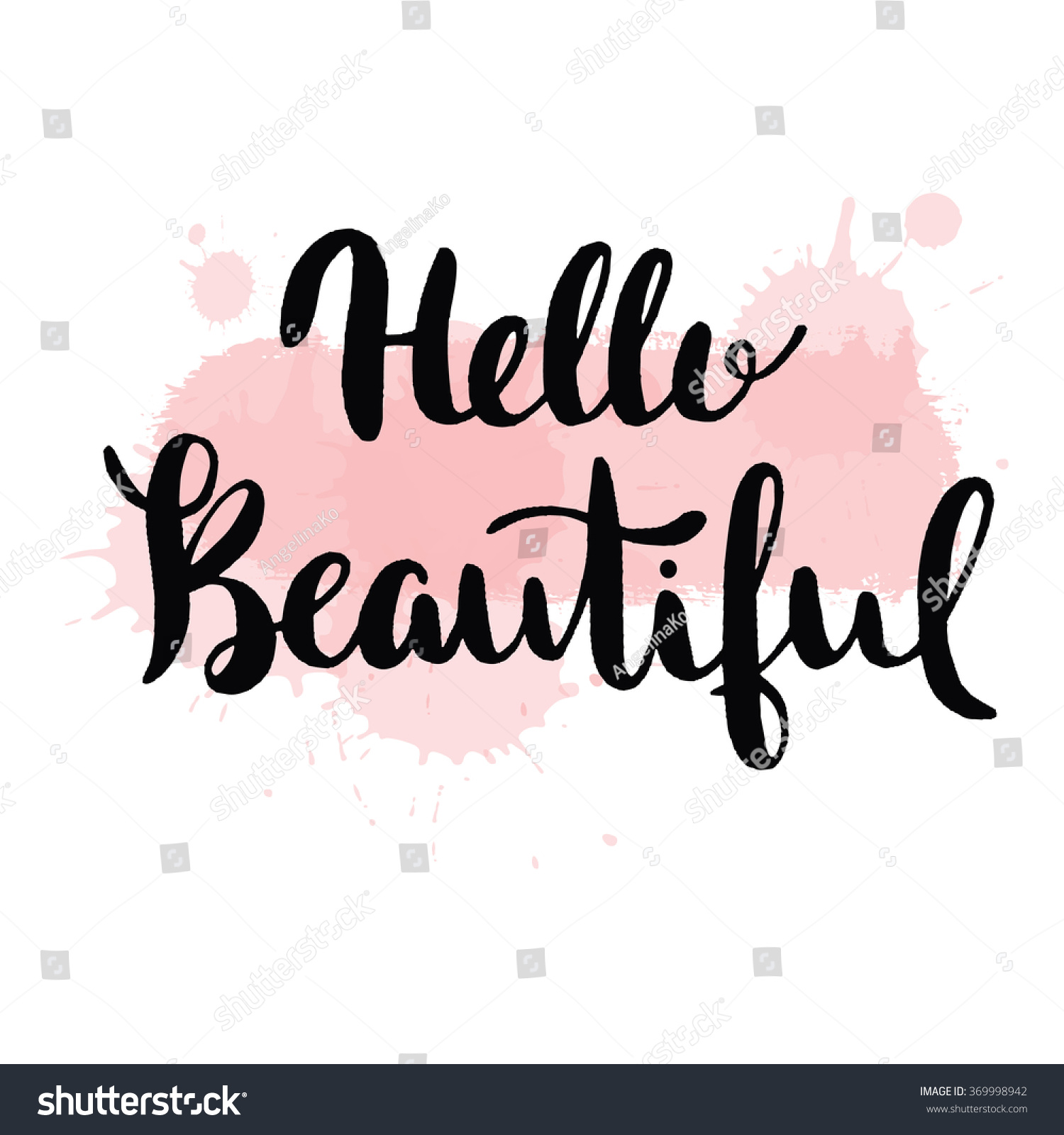 Hello beautiful vector lettering hand drawn stock
