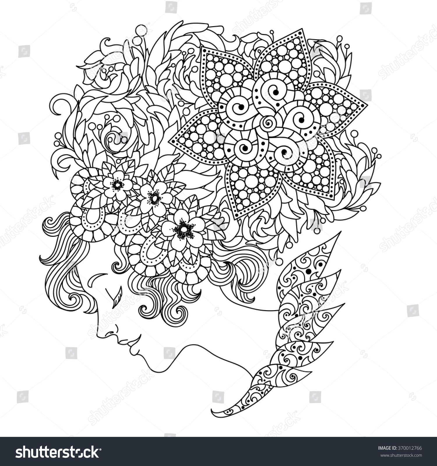 Coloring book for girl - Beautiful Girl With Flowers Illustration For The Coloring Book For Adults Coloring Page