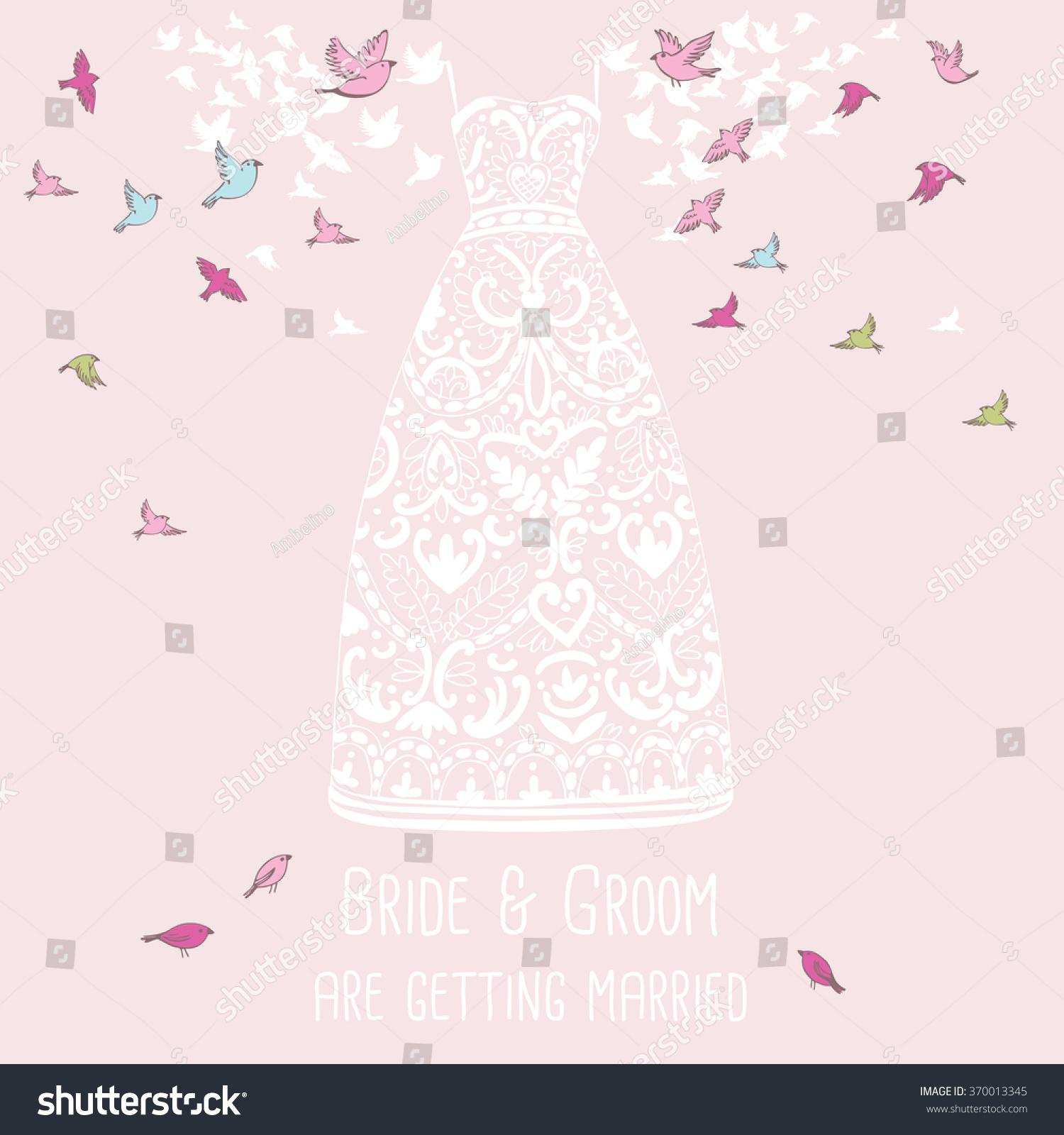 Wedding Invitation Card Birds Carrying Bride Stock Vector (2018 ...