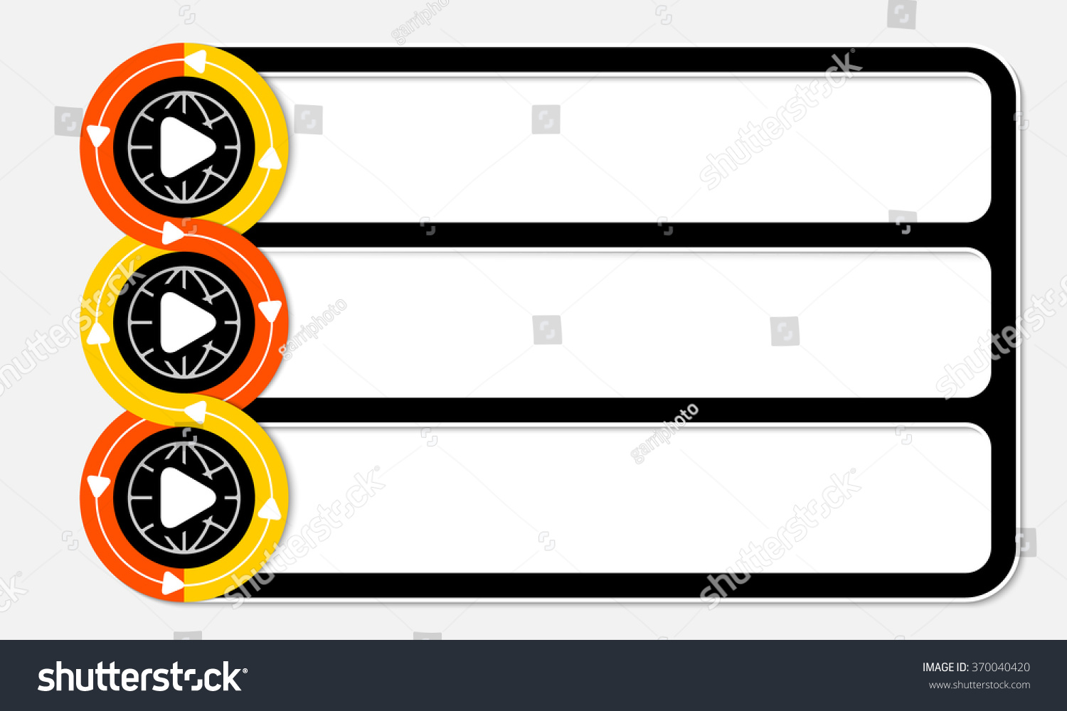 Three Connected Frames Your Text Play Stock Vector 370040420