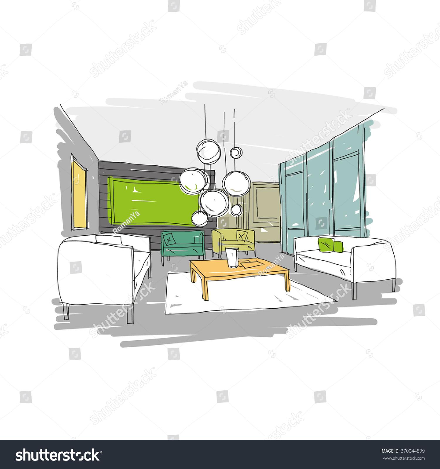 Living Room Design Interior Sketch Hand Stock Vector 370044899 Shutterstock