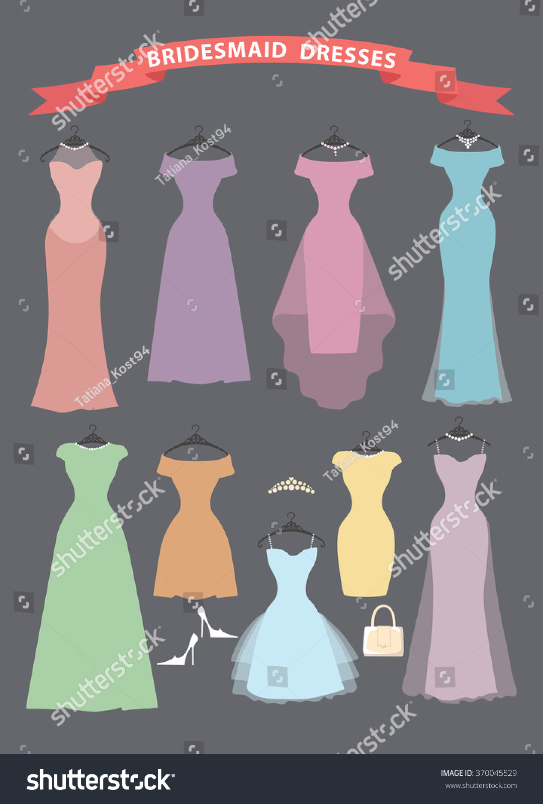 Wedding bridesmaid dresses pastel colorsfashion illustrationflat wedding bridesmaid dresses in pastel colors illustrationflat style dresses hang on ombrellifo Image collections