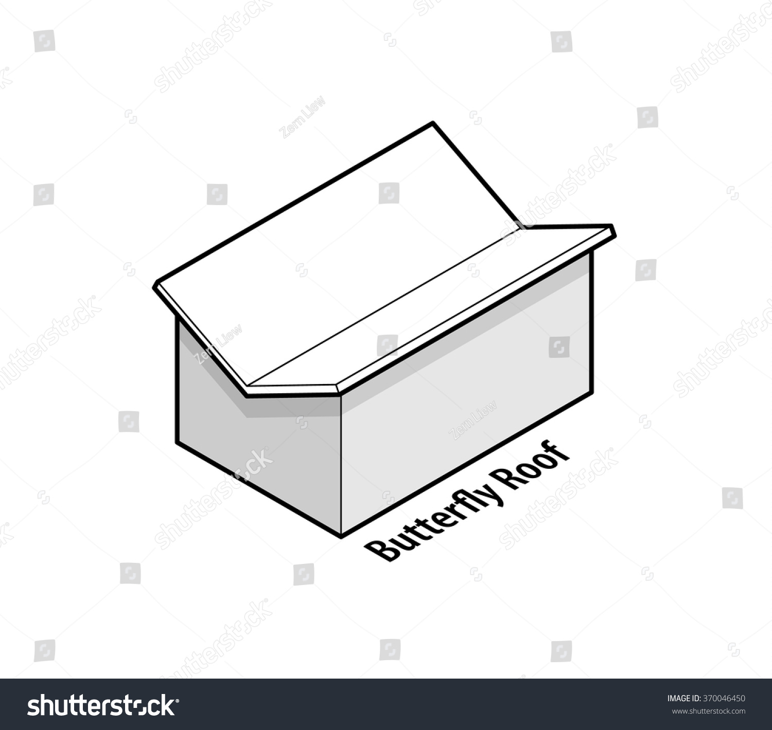 building roof type butterfly roof stock vector
