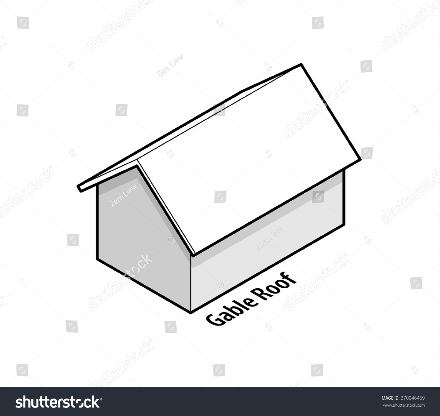 Building roof type gable roof stock vector 370046459 for Box gable roof
