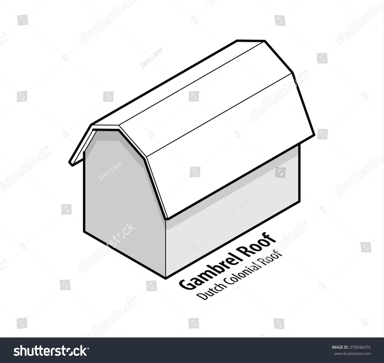 building roof type gambrel roof dutch stock vector 370046474