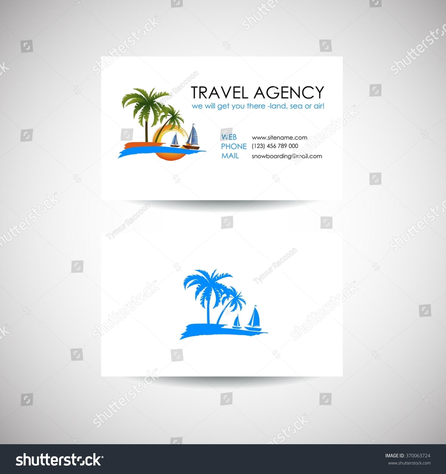 Travel agent business cards for Templating agent
