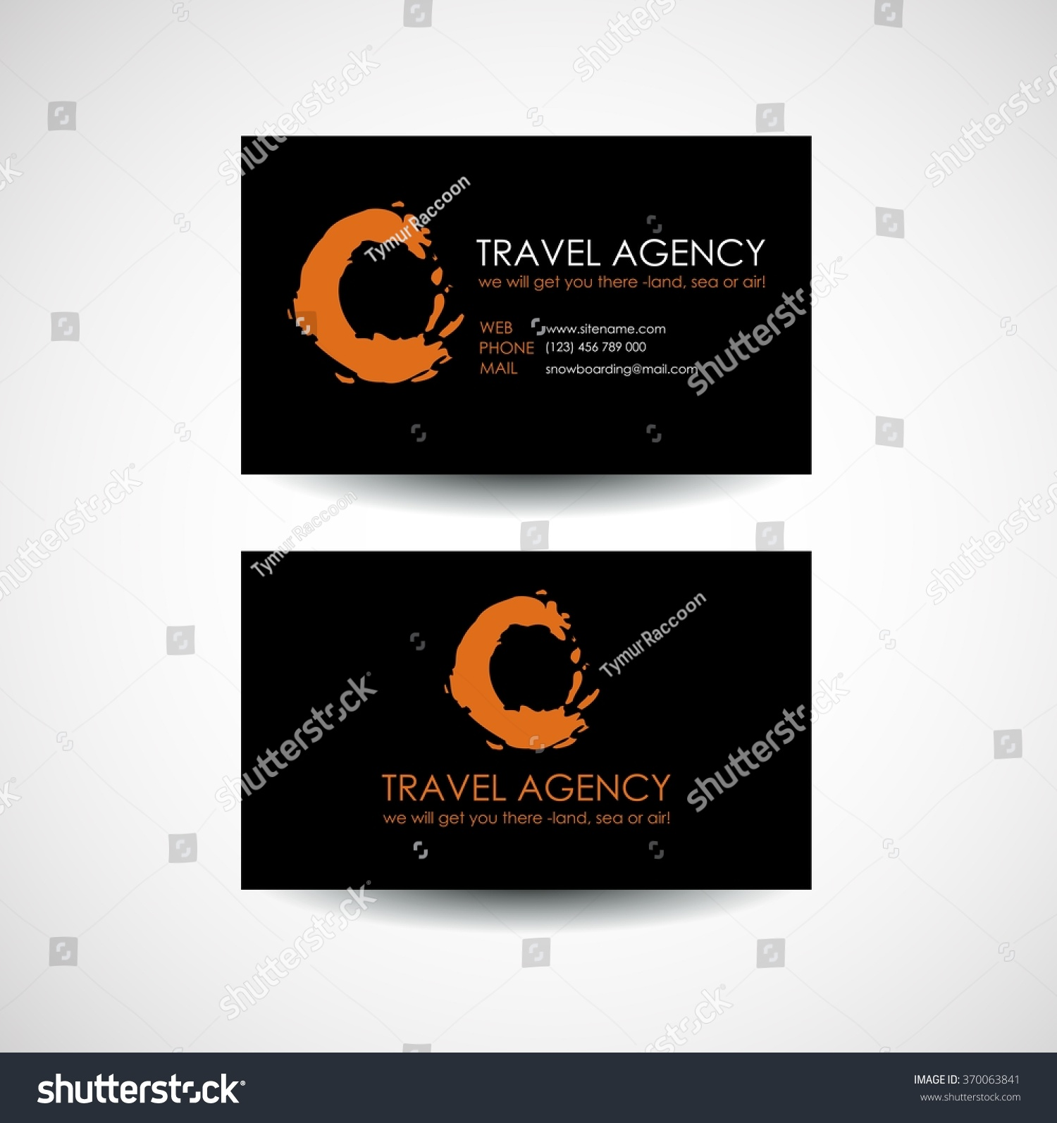 Travel Agency Business Card Template Travel Stock Vector 370063841 ...