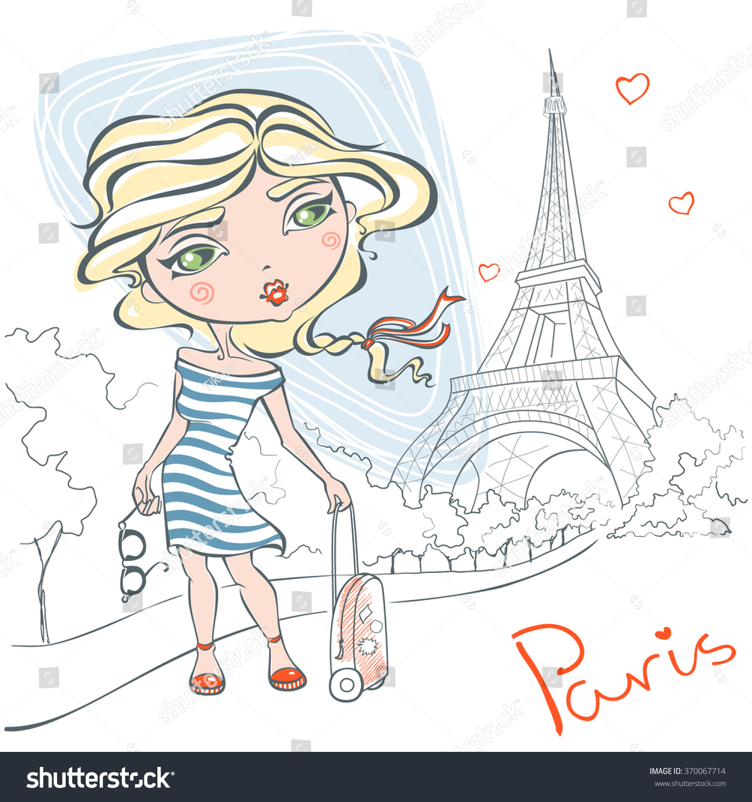 Cute Girl On Background Of Eiffel Tower Trip To France Paris Vector Illustration In