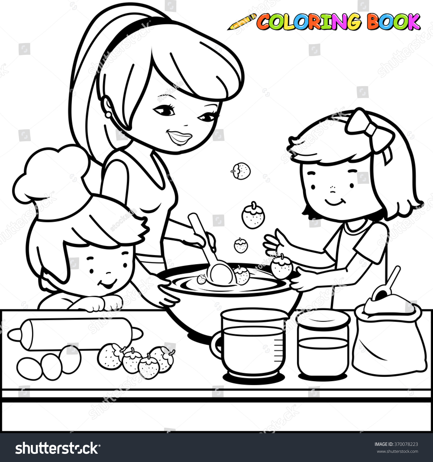 Mother children cooking kitchen coloring book stock vector for Mom and child coloring pages