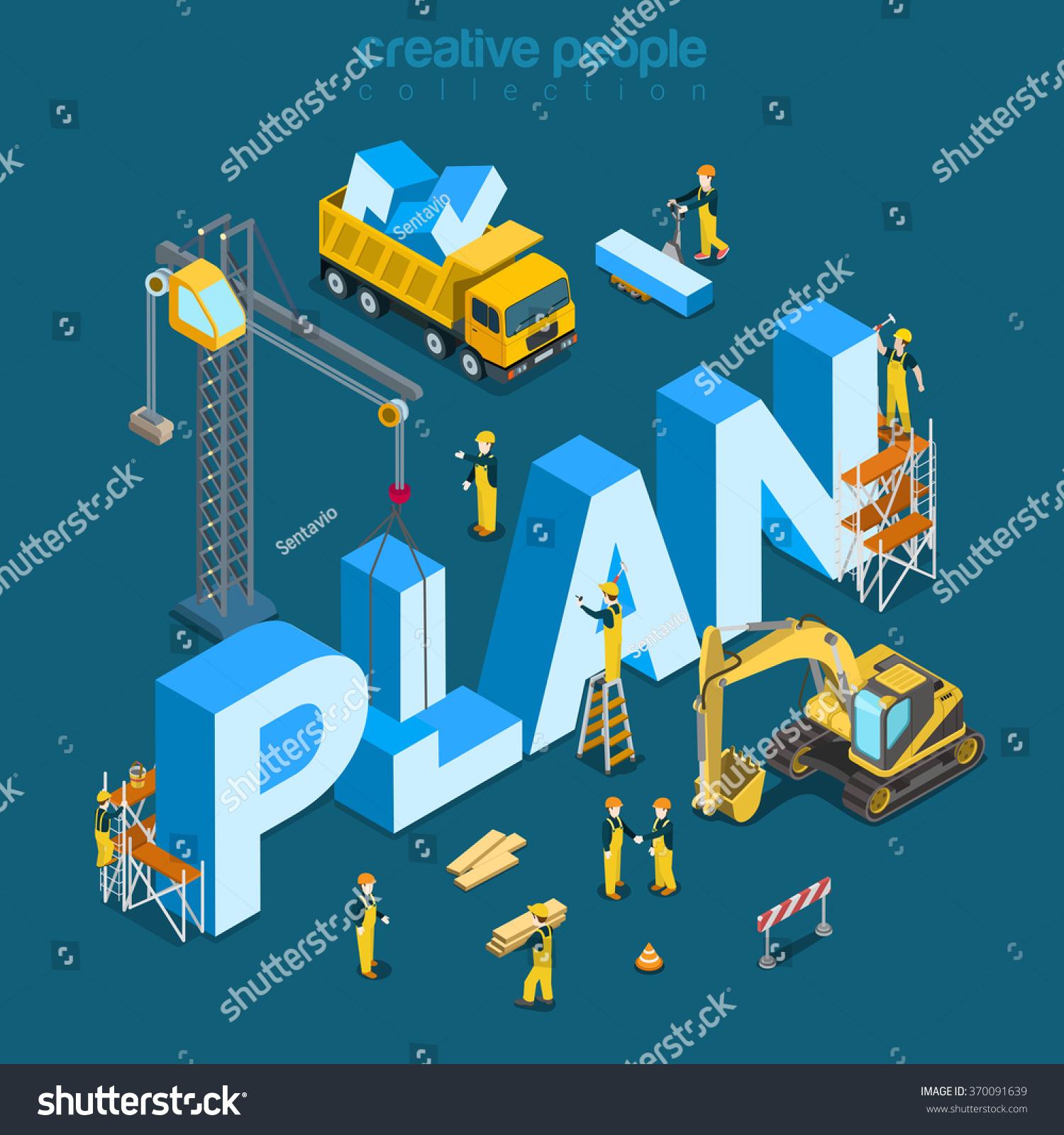 plan creation process flat 3d isometry isometric concept web vector illustration construction. Black Bedroom Furniture Sets. Home Design Ideas