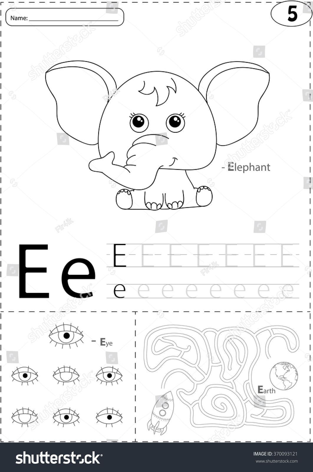 Cartoon Elephant Eye And Earth Alphabet Tracing Worksheet Writing A Z Coloring Book