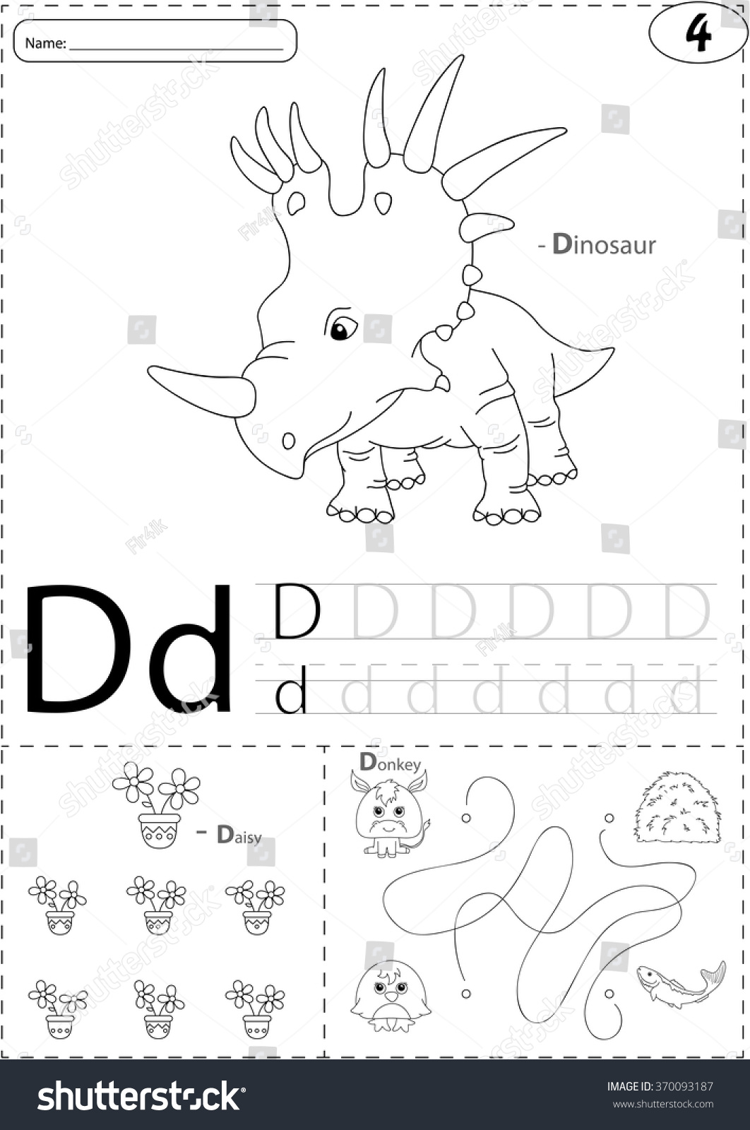 Cartoon Dinosaur Daisy And Donkey Alphabet Tracing Worksheet Writing A Z Coloring Book