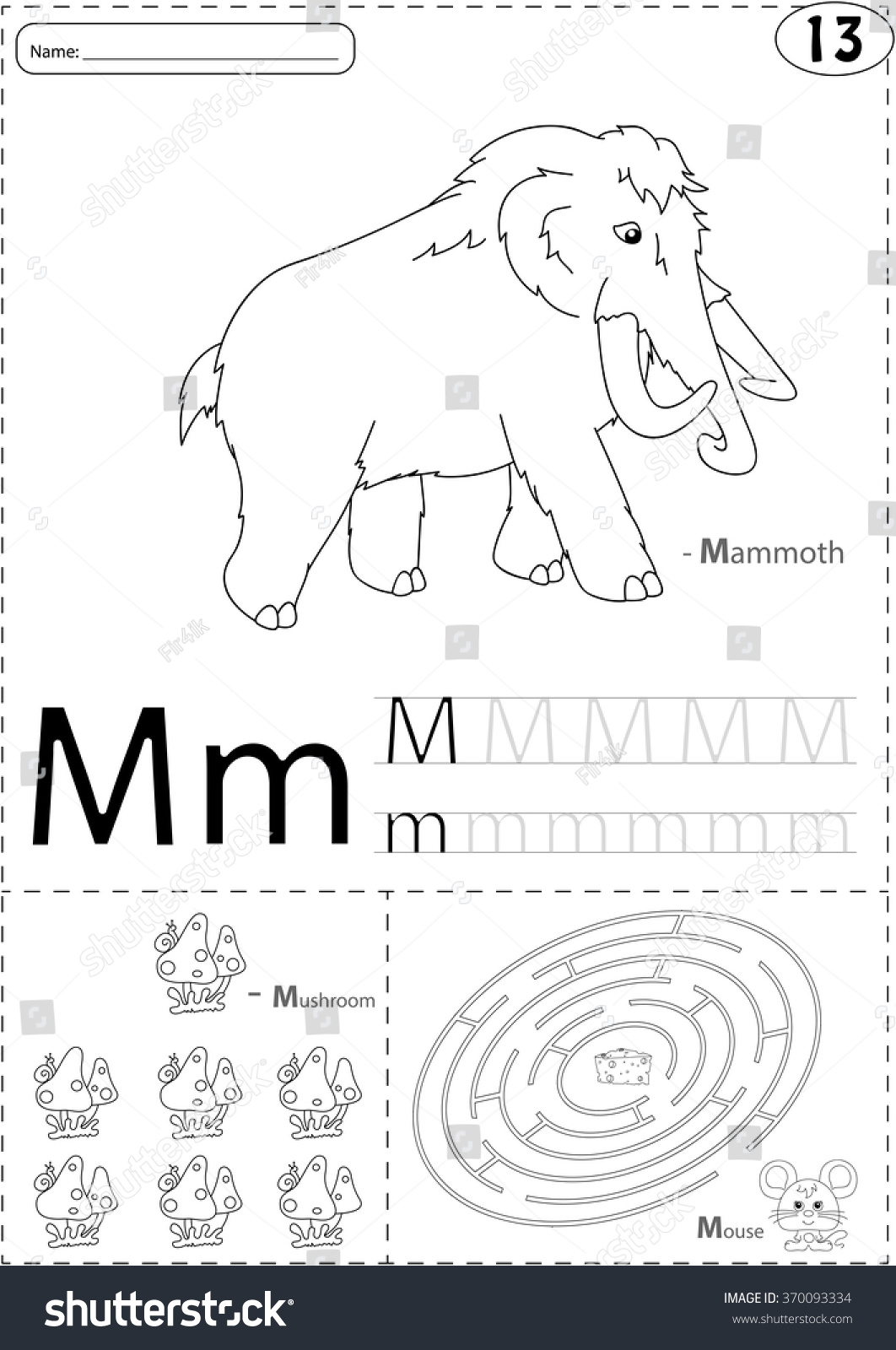 Cartoon Mammoth Mushroom And Mouse Alphabet Tracing Worksheet Writing A Z Coloring Book
