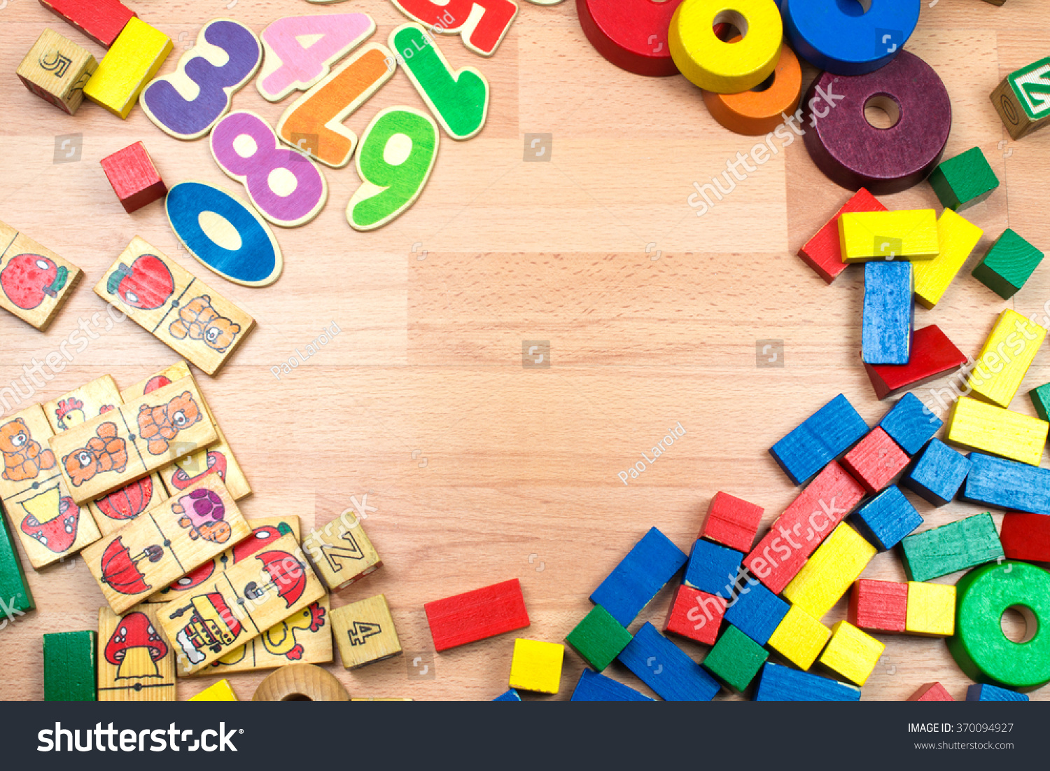 Wooden Toys Background Stock Photo Edit Now 370094927 Shutterstock