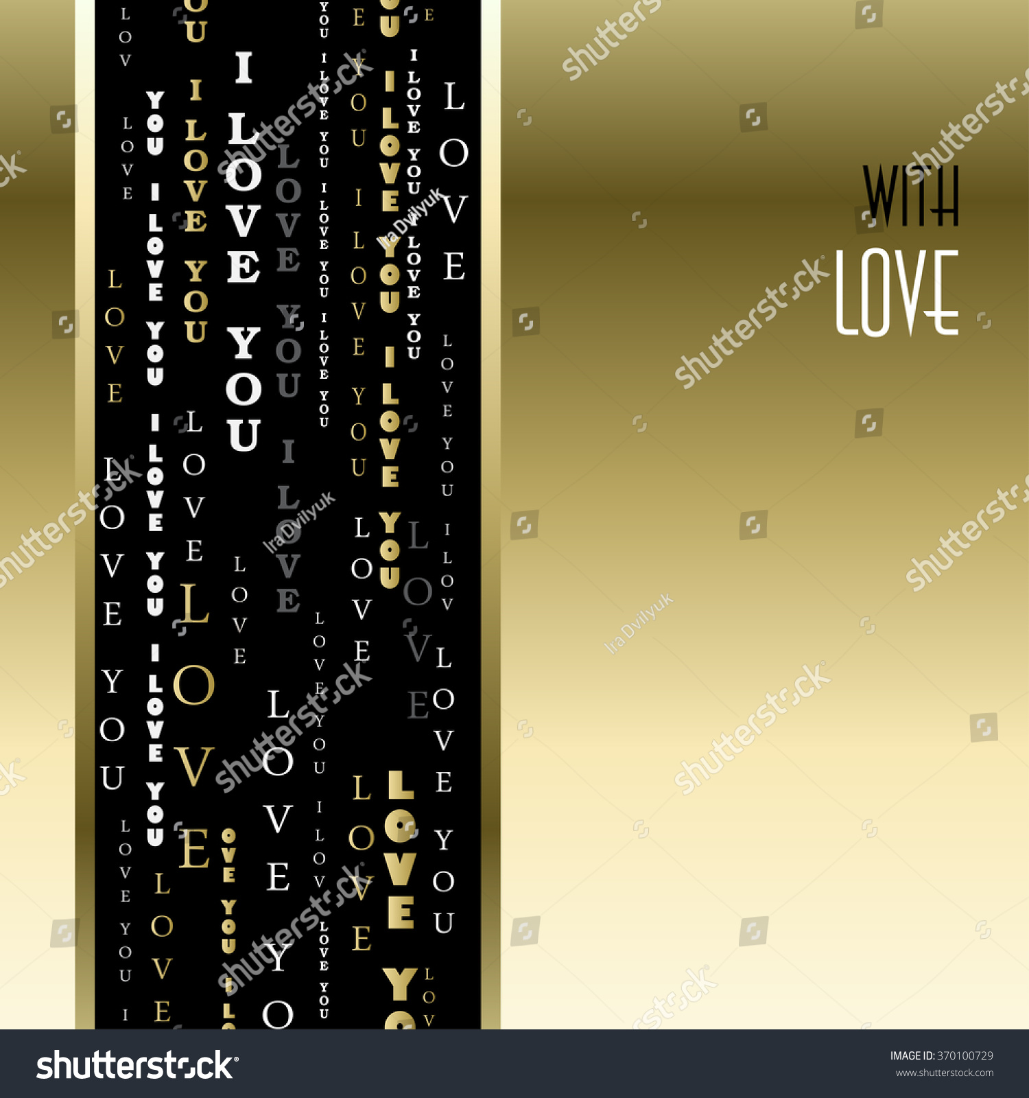 Love Card Valentines Card Template Gold Stock Vector Royalty Free