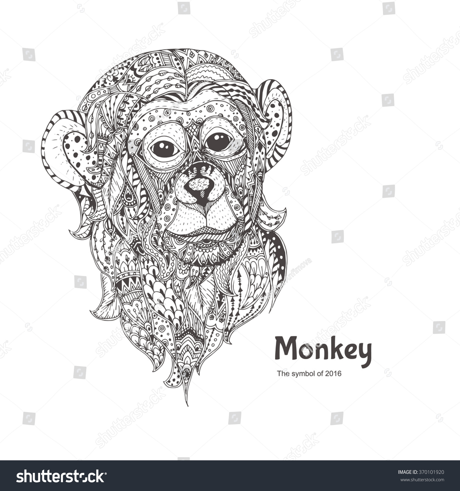 handdrawn monkey ethnic floral doodle pattern stock vector