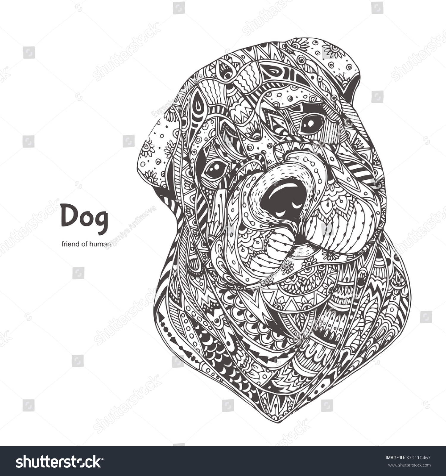 handdrawn dog ethnic floral doodle pattern stock vector 370110467